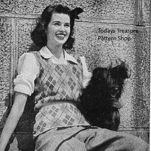 Vintage Knitted Pullover Vest Pattern