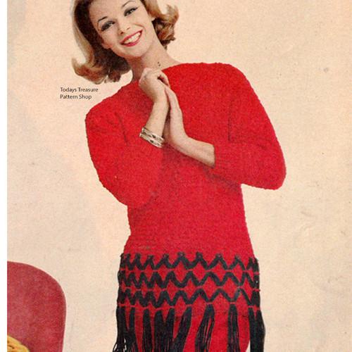 Vintage 1960s Fringed Pullover Knitting Pattern