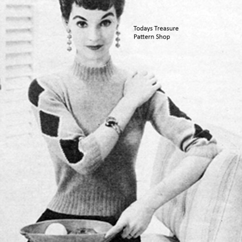 Vintage Sweater Knitting pattern with Diamond Sleeves