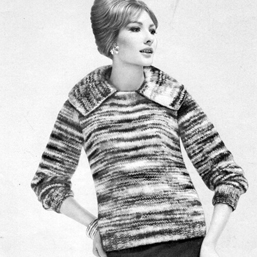 Knitted Mohair Pullover Pattern, Large Collar