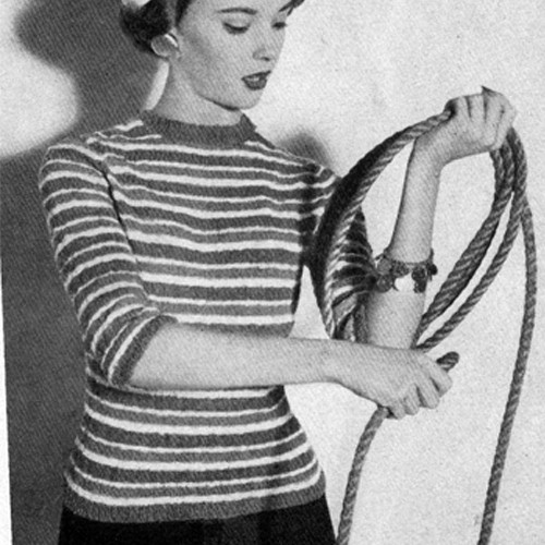 Knitting Pattern Striped Pullover with Elbow Sleeves