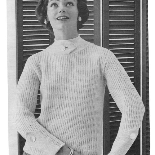Knitting Pattern, Misses High Neck Slipon with Spinnerin Mona Yarn