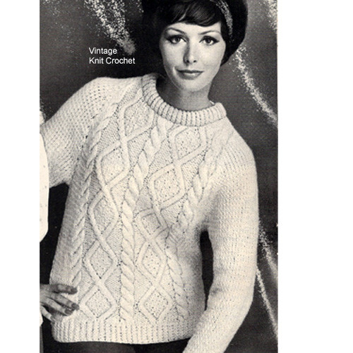 Vintage Aran Sweater Knitting Pattern, Crew Neck