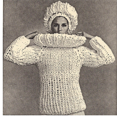 Vintage Rich Boy Sweater Cap pattern on Big Needles