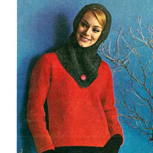 Hooded Pullover Knitting Pattern in Tweed