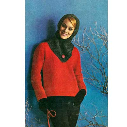 Vintage Knitted Hooded Pullover Pattern