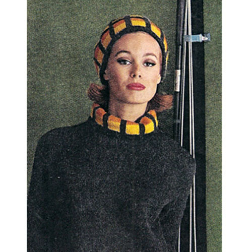 Matching Knitted Hat & Pullover Pattern in Ungers Les Bouquets
