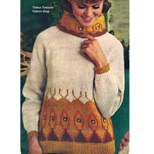 Knit Patterned Turtleneck Pattern in Bear Brand Shetland Wool