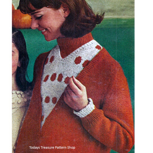 Knitting Pattern, Polka Dot Pullover with Turtleneck