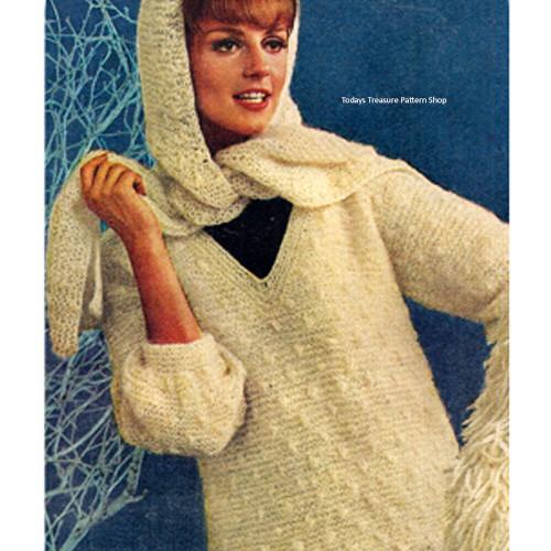 Knitted Pullover Pattern in Garter Stitch