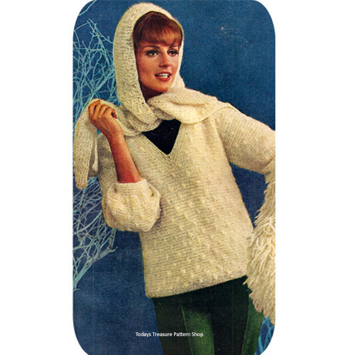 Pullover Knitting Pattern with Matching Scarf, Garter Stitch