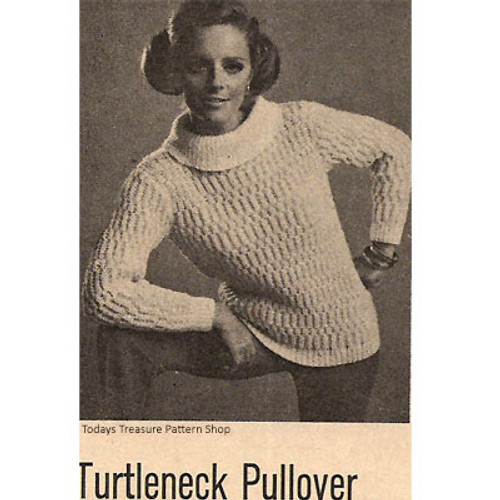 Bulky Knitted Pullover Pattern with Turtleneck