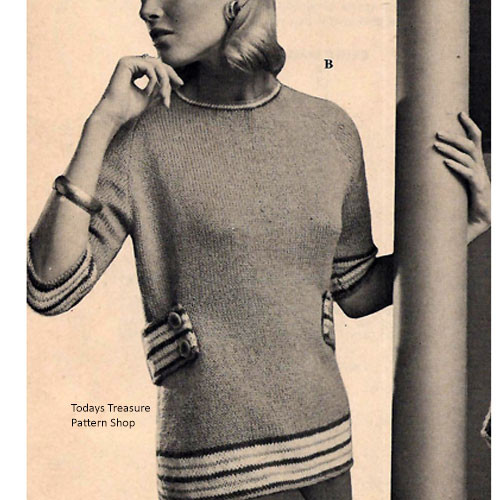 Knitting Pattern, Long Belted Tunic Pattern