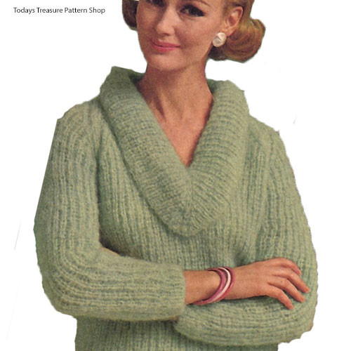 Mohair Knitted Sweater Pattern in Spinnerin Cortina Yarn