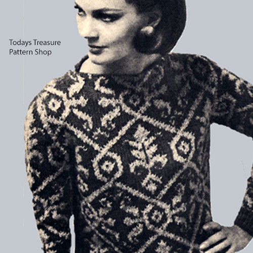 Victorian Print Sweater Knitting Pattern