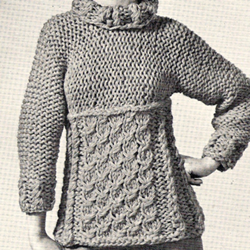 Knitted Roll Neck Pullover Pattern, Vintage 1960s