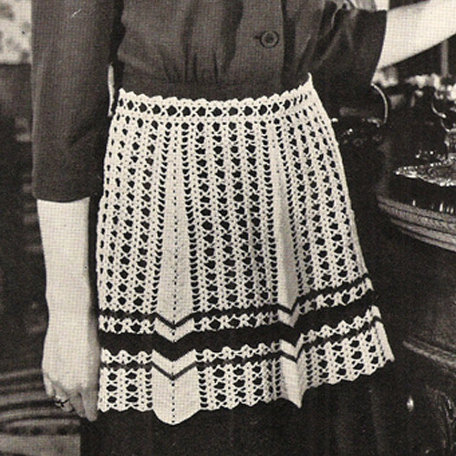 Vintage Striped Crochet Apron Pattern from Coats & Clarks