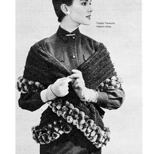 Ball Fringe Trimmed Crochet Stole Pattern