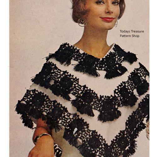 Crocheted Tassel Poncho Pattern, Vintage 1960s