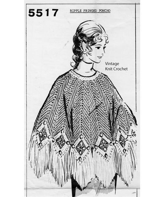 Fringed Poncho Crochet Pattern, Mail Order 5517