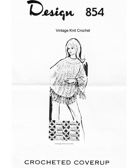 Big Needle Crochet Poncho Pattern, Mail Order 854