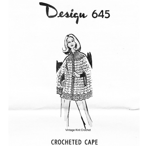 Shell Stitch Crochet Cape Pattern, Design 645