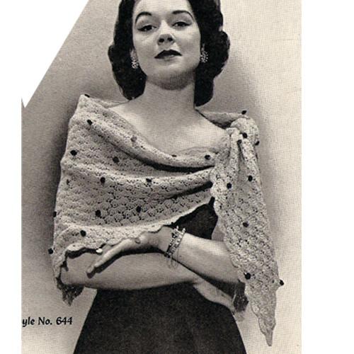 Vintage Crochet Triangle Stole Pattern in Featherlaine