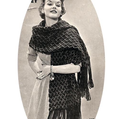 Long Crocheted Shawl Pattern in Shell Stitch