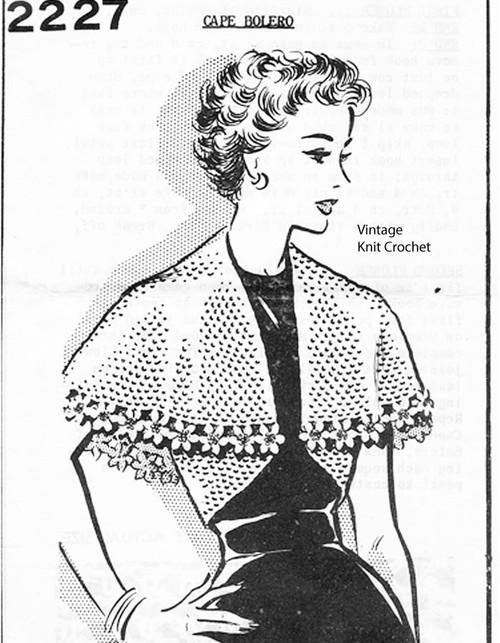 Crochet capelet pattern, flower trim, Mail Order 2227