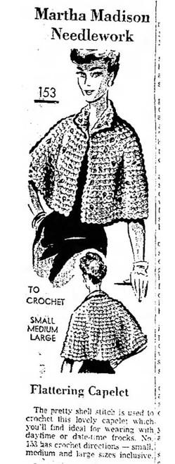Martha Madison 153, Crochet Cape newspaper advertisement