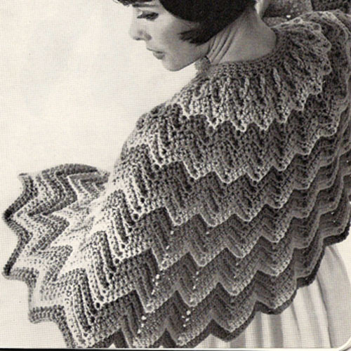 Rippled Cape Crochet Pattern, Vintage 1960s