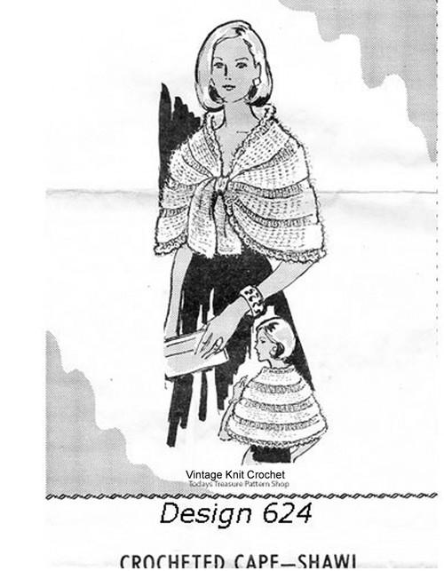 Mohair Shawl Knitting Pattern, Mail Order 624