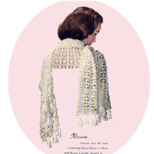 Lacy Crochet Narrow Stole Pattern, Vintage 1950s