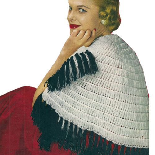 Vintage Crochet Shawl Pattern with Contrast Trim