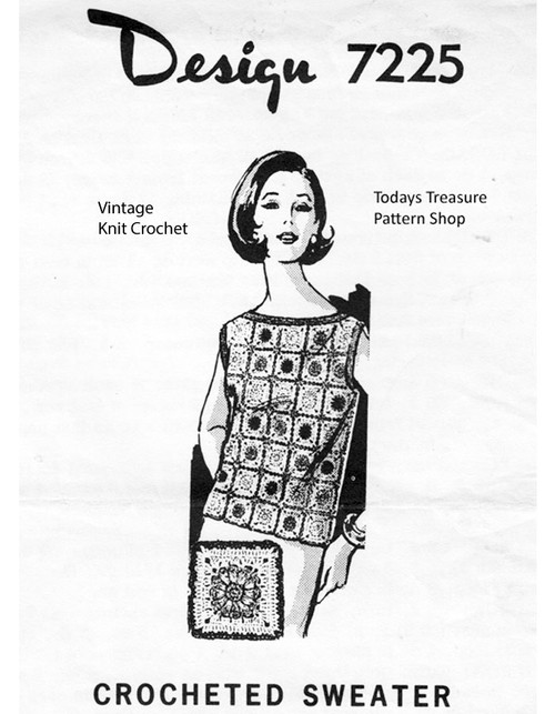 Crochet Top Pattern, Granny Squares, Mail Order 7225