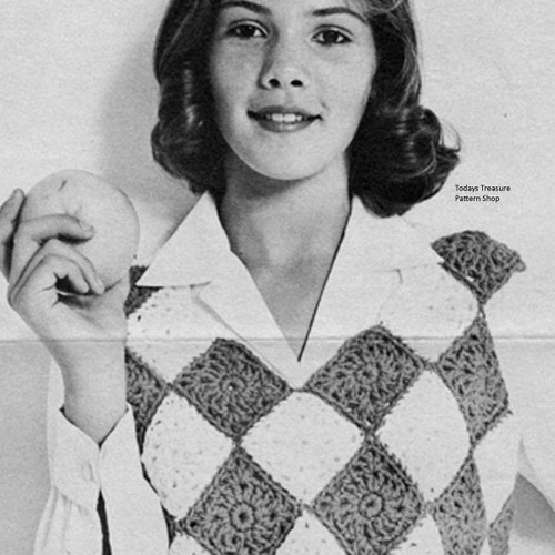 Vintage Crochet Sleeeveless Top Pattern in Diamonds