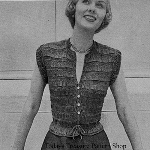 Crocheted V-Neck Buttoned Blouse Pattern, Sleeveless
