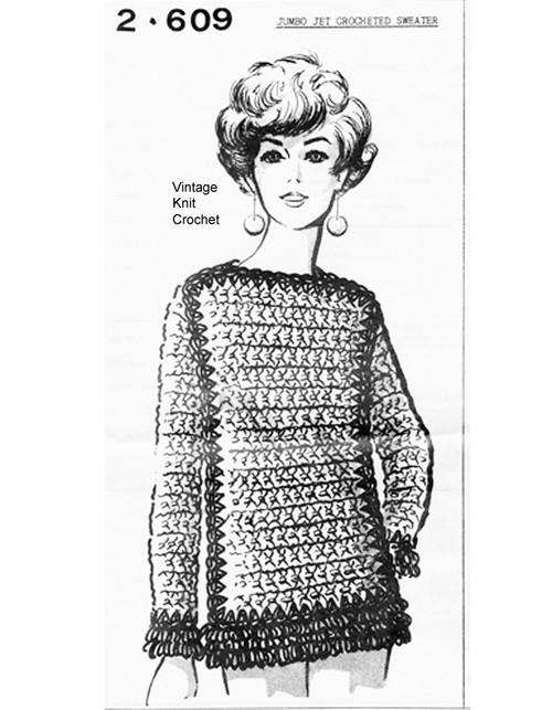 Jumbo Jet Crochet Sweater Pattern, Mail Order 2609