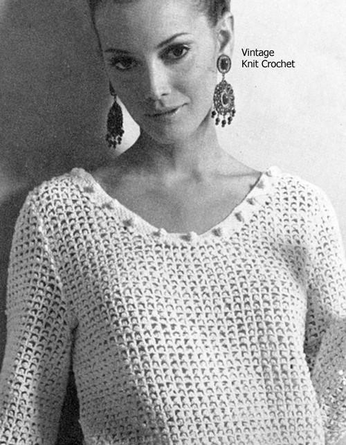 Crochet Picot Pullover Blouse Pattern