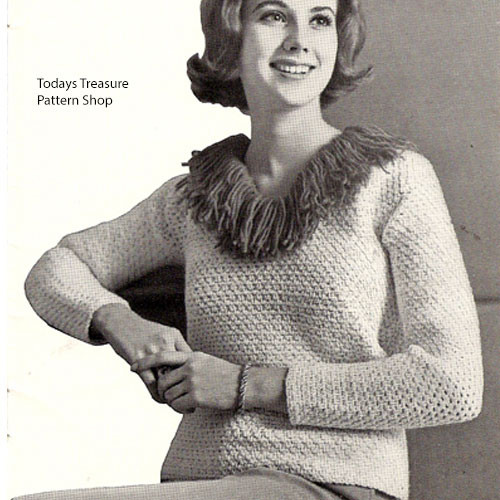Vintage Crochet Sweater Pattern with Fringe Collar