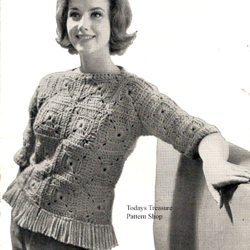 Fringed Crochet Pullover pattern, vintage 1960s