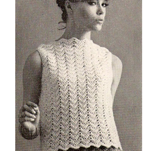 Crochet Sleeveless Blouse Pattern, Vintage 1960s