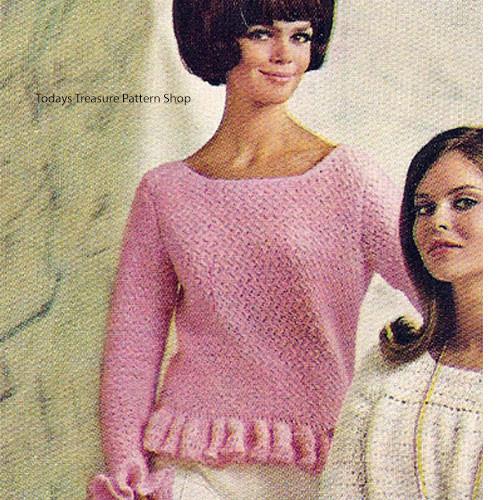 Vintage Ruffle Trimmed Sweater Pattern