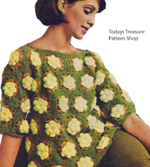 Vintage Flower Crocheted Sweater pattern