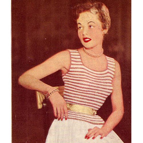 Crochet striped shell pattern, vintage 1950