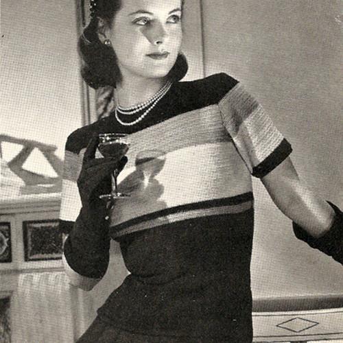 Crochet Striped Blouse Pattern back zip, Vintage 1940s