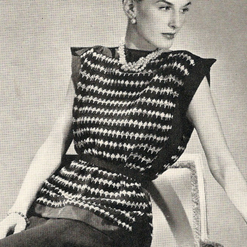 Knitting Pattern, Striiped Tabard Vintage 1940s