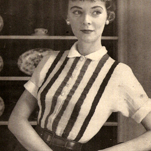 Striped Blouse Crochet Pattern, Vintage 1950s