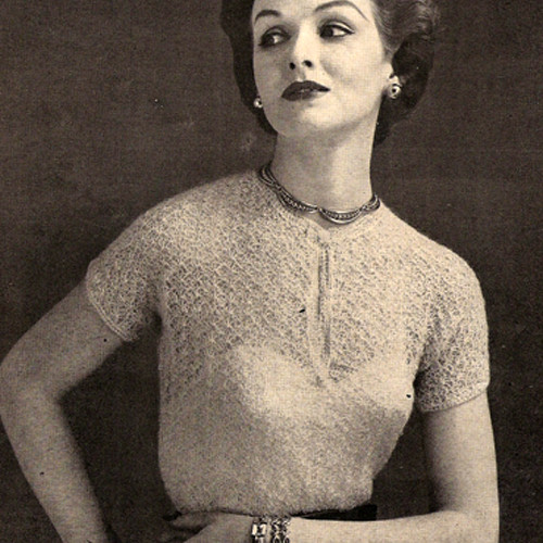 Mohair Blouse, Vintage Crochet Pattern, Short Sleeves