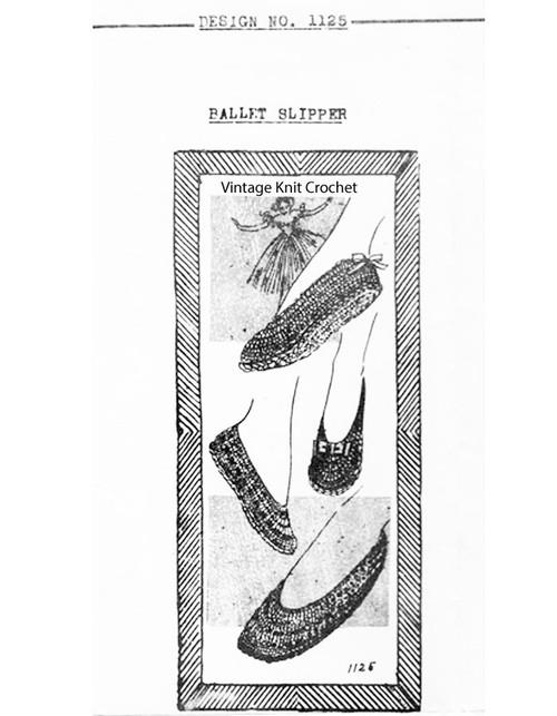 Crochet Ballet Slippers Pattern, Mail Order E-1125